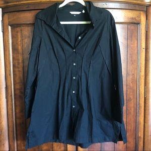 Soft Surroundings Long Black Tunic Button Up Top